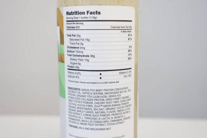 ample informations nutritionnelles